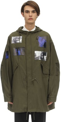 Raf Simons HOODED MID-LENGTH COTTON BLEND PARKA