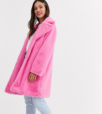 Daisy Street oversized coat in faux fur-Pink