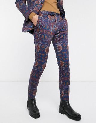 Topman skinny suit pants in blue floral print