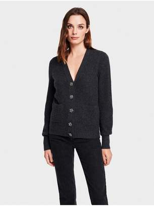 White + Warren Cashmere Crystal Button Cardigan