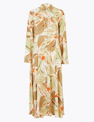 Marks and Spencer Floral Print Midi Shirt Dress