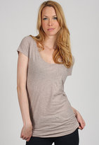 Brandy and Melville V- Neck One Pocket Tee in Dark Oatmeal
