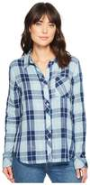 Dylan by True Grit - Denim and Chambray Plaid One-Pocket Luxe Double Cloth Shirt Women's Long Sleeve Button Up