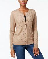 Karen Scott Textured Polka-Dot-Print Cardigan, Created for Macy's
