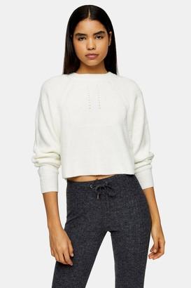 Topshop Ivory Super Soft Knitted Raglan Jumper