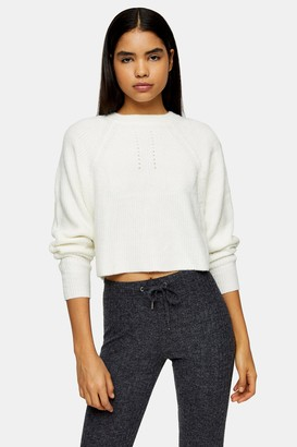 Topshop Ivory Super Soft Knitted Raglan Sweater