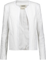 L'Agence Leather-trimmed cotton-blend jacquard blazer