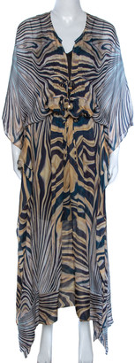 Roberto Cavalli Multicolor Wave Print Silk Maxi Dress M