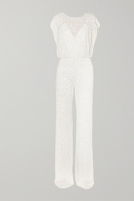 Jenny Packham Apollo Open-back Crystal-embellished Sequined Chiffon Jumpsuit - Ivory