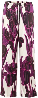 Dries Van Noten Floral high-rise silk satin pants