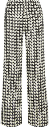 Area Crystal-embellished Houndstooth Wool-blend Twill Wide-leg Pants