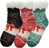 Angelina Black & Green Diamond Giftable Three-Pair Fleece-Lined Socks Set