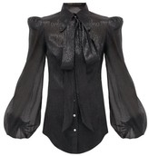 The Vampire's Wife The Belle Metallic Silk-blend Blouse - Womens - Black