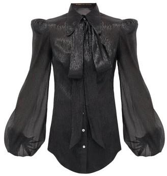 The Vampire's Wife The Belle Metallic Silk-blend Blouse - Womens - Black