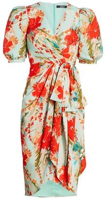 Badgley Mischka Bow Floral Printed Runway Dress