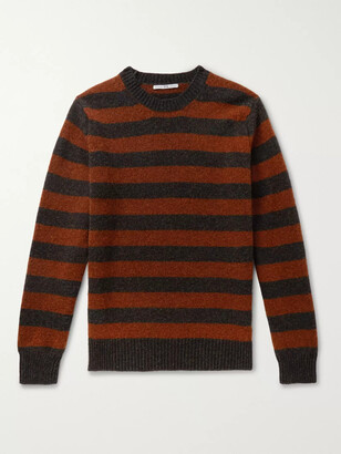 Connolly + Goodwood Striped Melange Shetland Wool And Cashmere-Blend Sweater