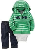 Carter's Infant Boys 3-Piece Green Striped Hoodie Bodysuit Pants Playwear Set 3m