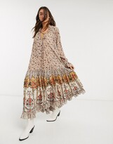 Free People feeling groovy printed midi dress in ivory combo