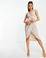 Thumbnail for your product : TFNC Bridesmaid wrap midi dress in pink