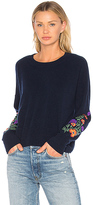 Autumn Cashmere Embroidered Crop Sweater in Navy. - size L (also in M,S,XS)