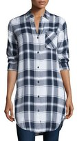 Rails Bianca Plaid Long-Sleeve Tunic, White/Navy/Fog