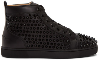 Christian Louboutin Black Louis Spikes High-Top Sneakers