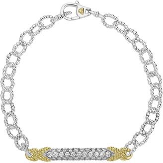 Lagos Caviar Lux Diamond Double-X Chain Bracelet w/ 18k Gold