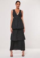 Missguided Black Polka Dot Plunge Layered Maxi Dress