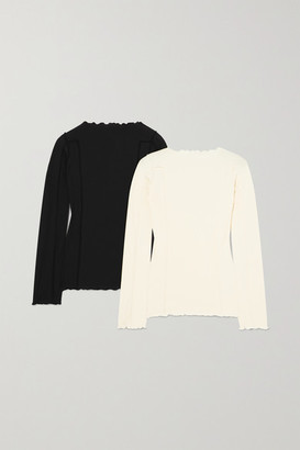 Base Range Net Sustain Omato Set Of Two Ribbed Stretch-organic Cotton Tops - Black