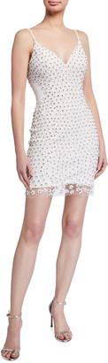 Jovani Beaded V-Neck Mini Slip Dress