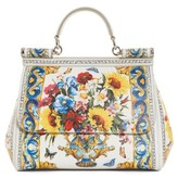 Dolce & Gabbana Medium Maiolica Fiori Sicily Leather Satchel - None