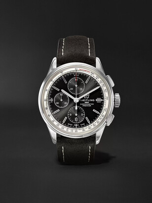 Breitling Premier Automatic Chronograph 42mm Stainless Steel And Nubuck Watch, Ref. No. A13315351b1x1