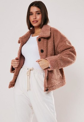 Missguided Rose Cropped Teddy Borg Trucker Jacket