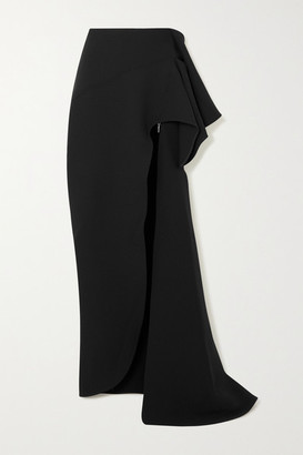 Maticevski Dream Asymmetric Draped Cady Maxi Skirt - Black