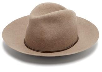 Isabel Marant Kinly Leather-trimmed Wool-felt Fedora Hat - Beige