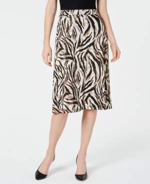 Kasper Petite Animal-Print A-Line Skirt