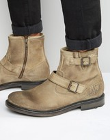 Base London Zinc Suede Biker Boots