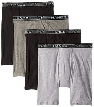 Hanes 4-Pack Platinum X-Temp Combed Cotton Long Leg Boxer Briefs (Black/Grey) Men's Underwear