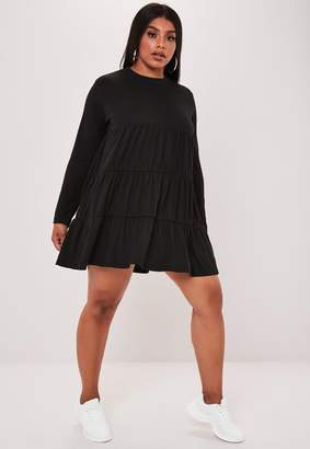 Missguided Plus Size Black Jersey Long Sleeve Smock Dress