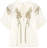Free People Dahlia embroidered ivory gauze top