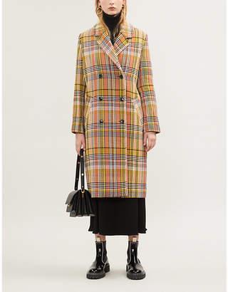 Samsoe & Samsoe Tille check-pattern cotton-blend coat