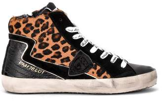 Philippe Model Paris High-top Sneaker In Black Leather And Spotted Pony