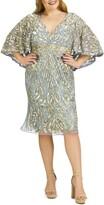 Mac Duggal Sequin Capelet Cocktail Dress