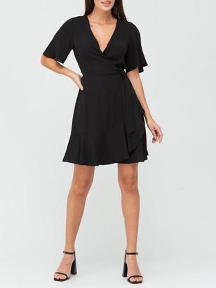 Very Karina Ruffle Wrap Short Dress - Black