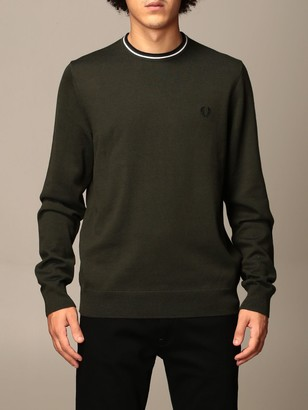 Fred Perry Crewneck Sweater In Wool And Cotton