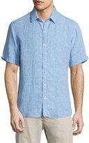 Zachary Prell Solid Linen Short-Sleeve Shirt, Blue