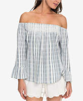 Roxy Juniors' Cotton Striped Off-The-Shoulder Top