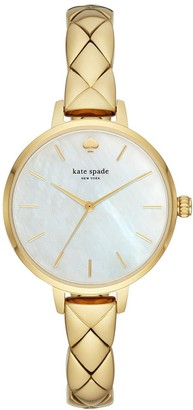 Kate Spade KSW1471 Metro Mother-of-Pearl and Gold Detail Dial Gold Stainless Steel Quilted Effect Half Bangle Ladies Watch