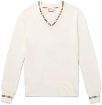 Brunello Cucinelli Stripe-Trimmed Cotton Sweater