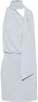 Halston Tie-neck Gathered Crepe Mini Dress